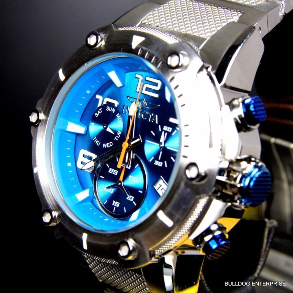 a2a29a377c8a Invicta Speedway XL Teal Blue Stainless Steel Chronograph Swiss Parts Watch  New