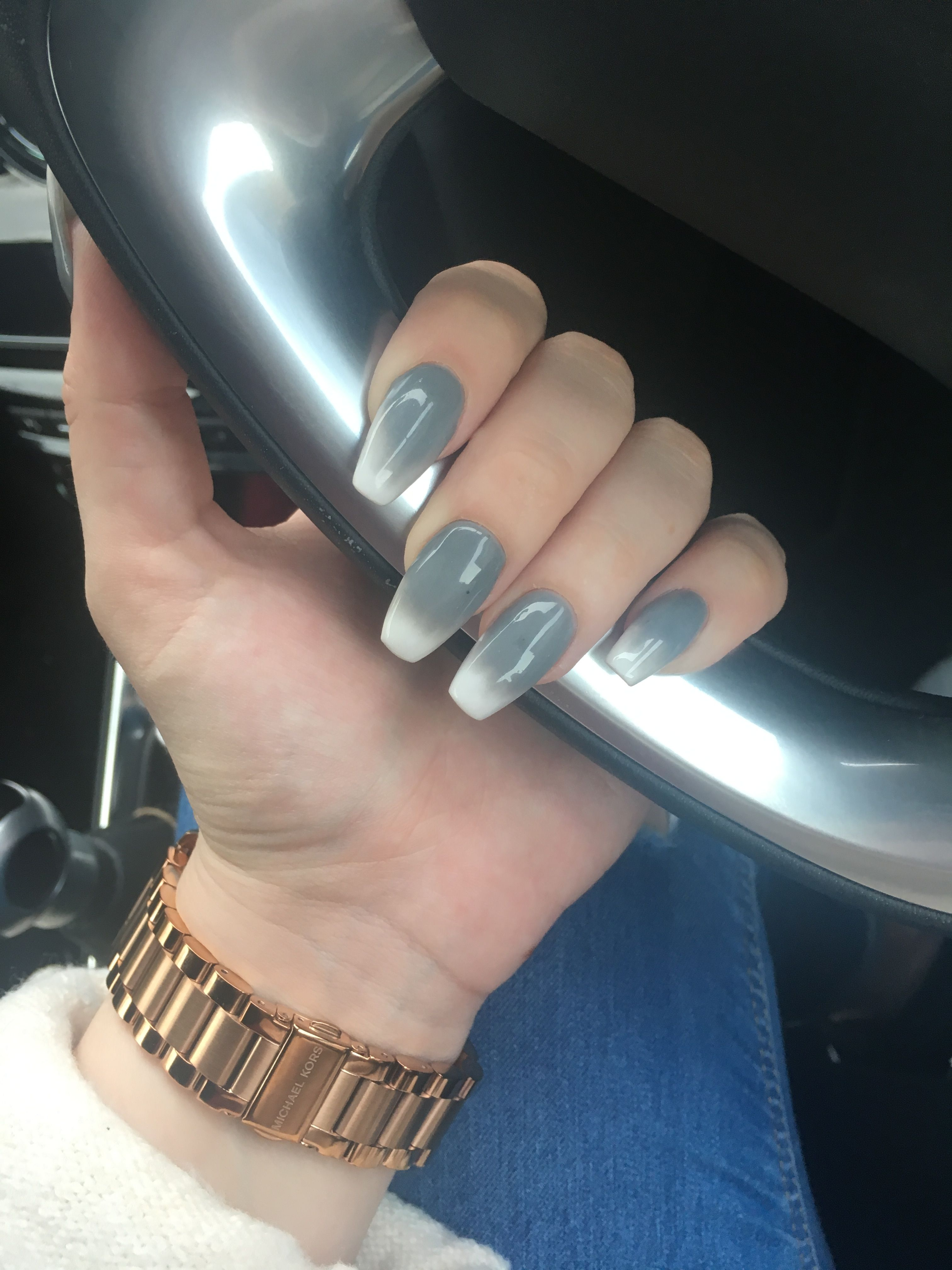 coffin #gray #grey #acrylics #nails #ombre #white #long #ds3
