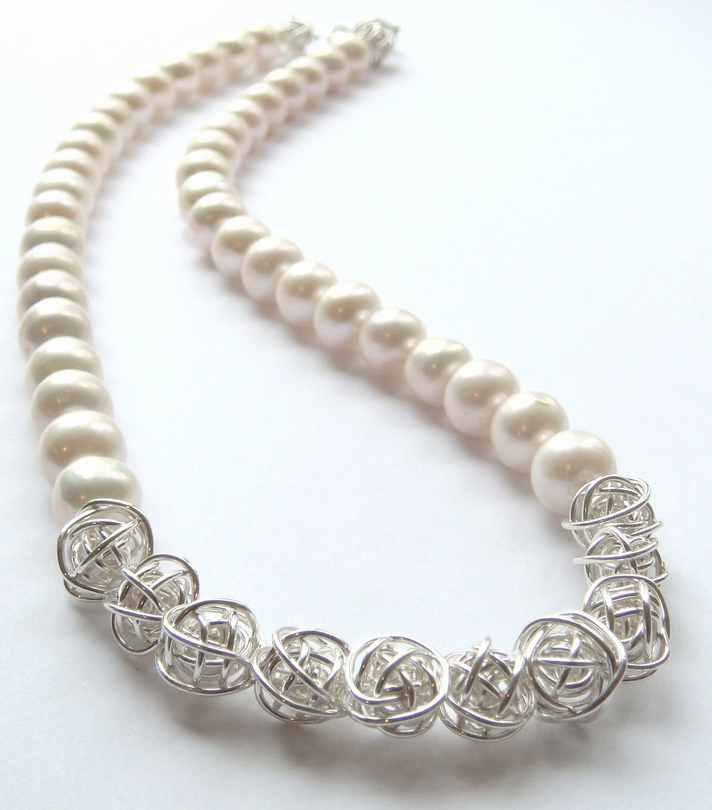 Pearl & Wire Ball Necklace - A beautiful pearl and wire ball ...