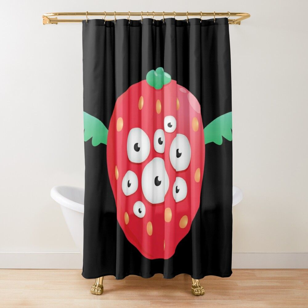 Cute Funny Strawberry Alien Monster Shower Curtain By Lindskacy