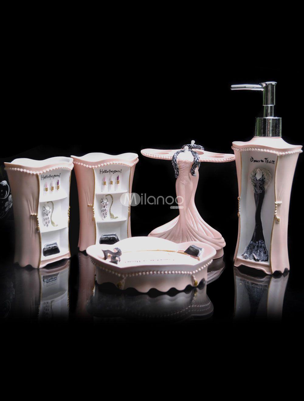 accessoires salle de bain rose recherche google articles de bains pinterest - Accessoire De Salle De Bain Rose