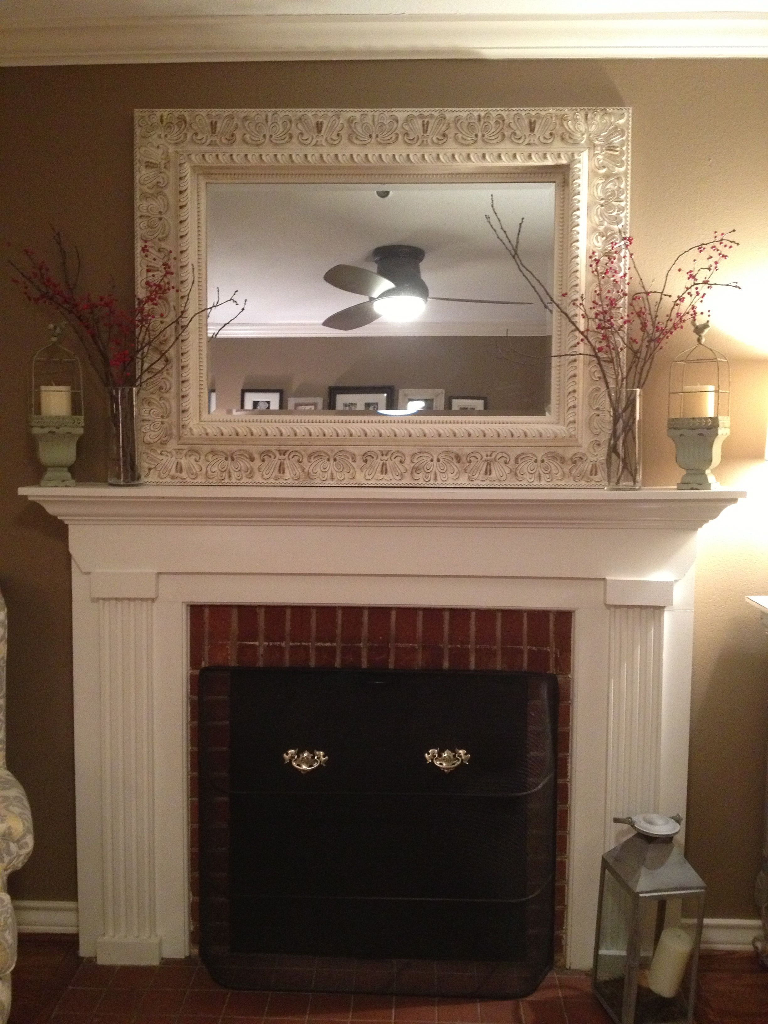 Love The Distressed Mirror Over The Fireplace Fireplace Decor How To Decorate A Fireplace Mantel Fireplace Mantle Decor
