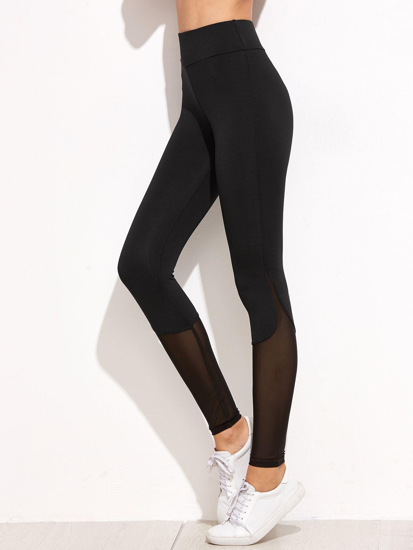 30cb2a6bd8766 Black Contrast Mesh Leggings -SheIn(Sheinside) | Clothes n Stuff in ...