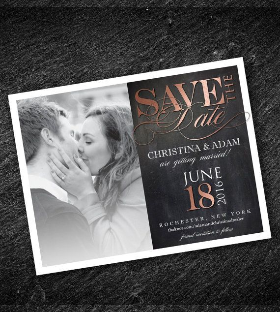 Save The Date Magnet Rose Gold Wedding With Photo Yellow Available Envelope Diy Digital File