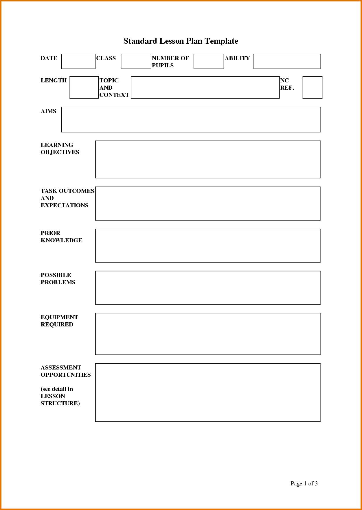 Standard Lesson Plan Template  Doc  Paperwork
