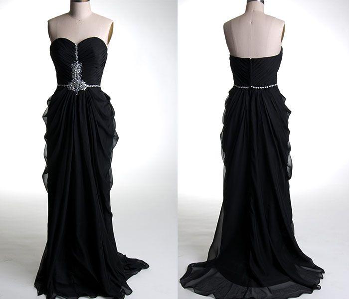 vintage black ruffled criss-cross sequin prom dresses KSP322