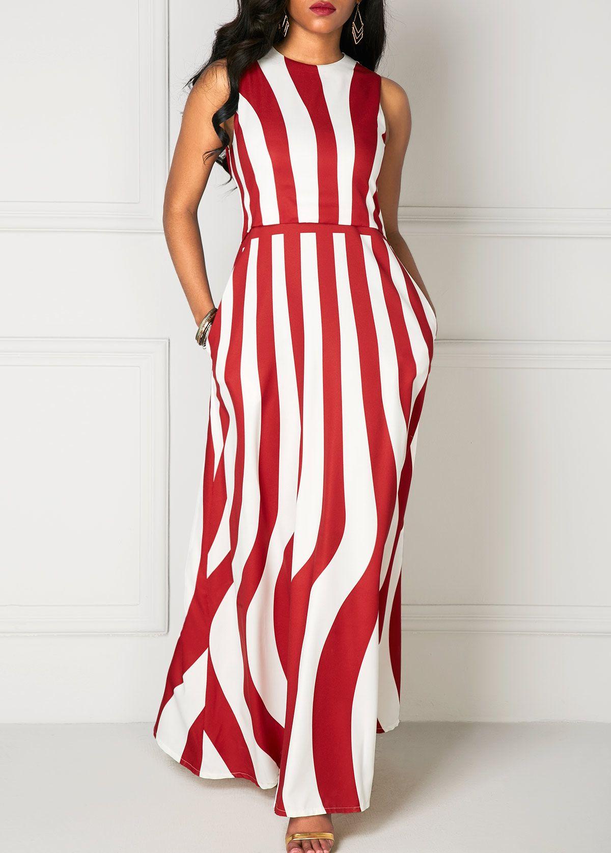 Pocket Round Neck Sleeveless High Waist Maxi Dress