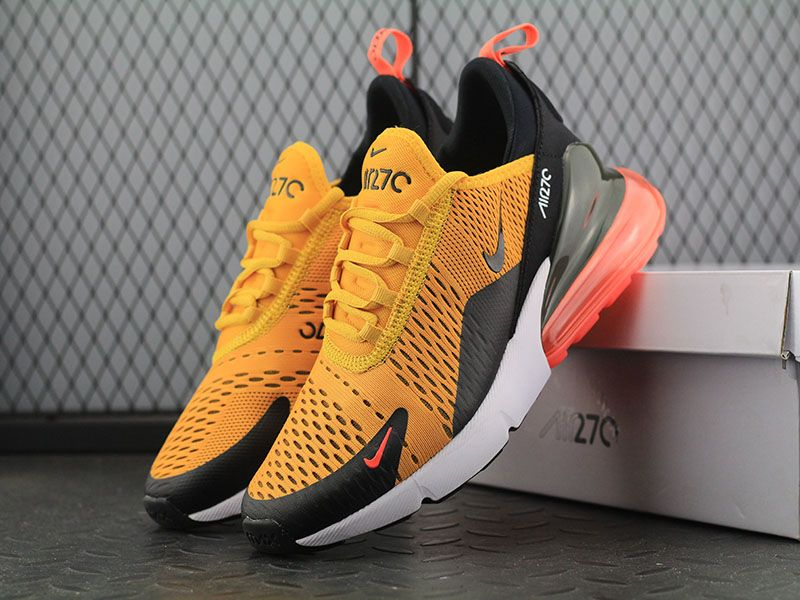best service ed904 a668a Nike Air Max 270 Flyknit Golden Black White Orange Men Running Shoes