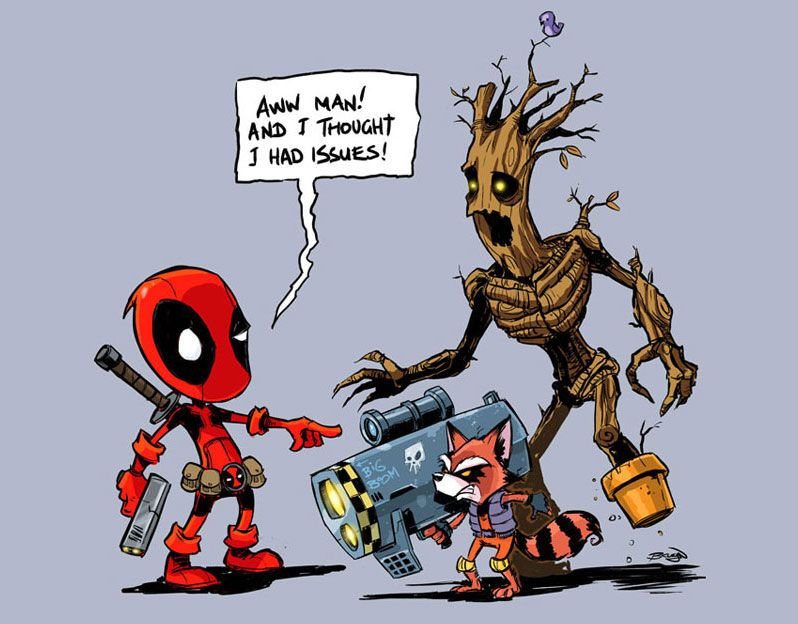 Star Lord And Rocket Raccoon By Timothygreenii On Deviantart: Deadpool Rocket Raccoon Groot By FromAboveComic On
