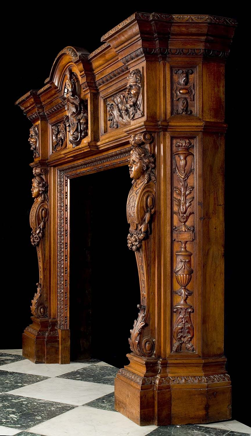 A Richly Carved Neo Renaissance Walnut Chimneypiece In The
