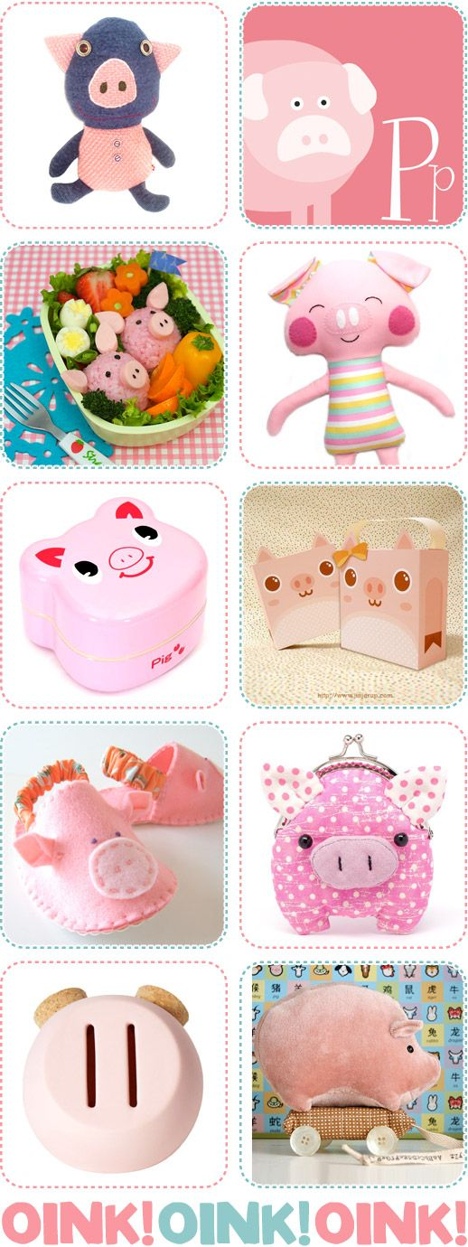OINK! Like you mean it... love these piglet toys, bento and art prints.