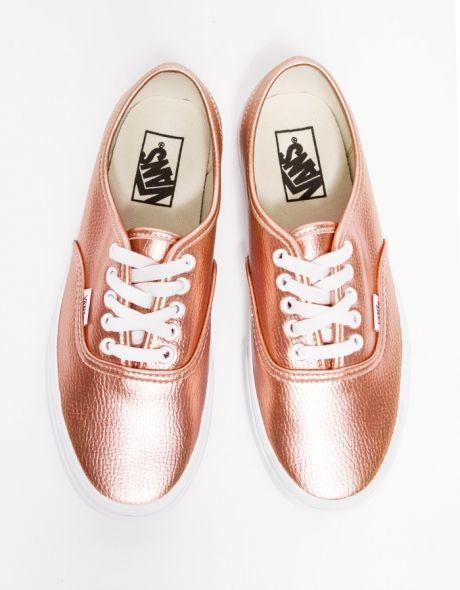 beige and rose gold vans