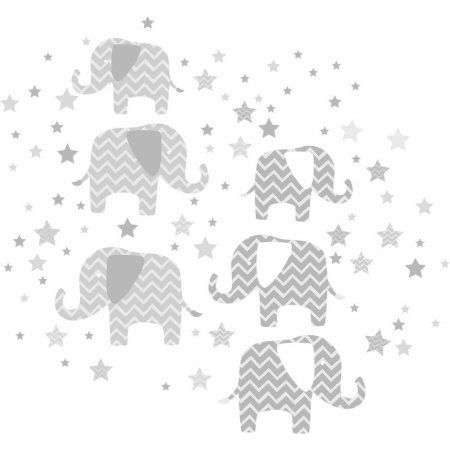 Wall Pops Elephants A Ton Of Love Wall Art Kit, Gray
