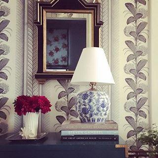 Quadrille Climbing Hydrangea Wallpaper Foyer Design By