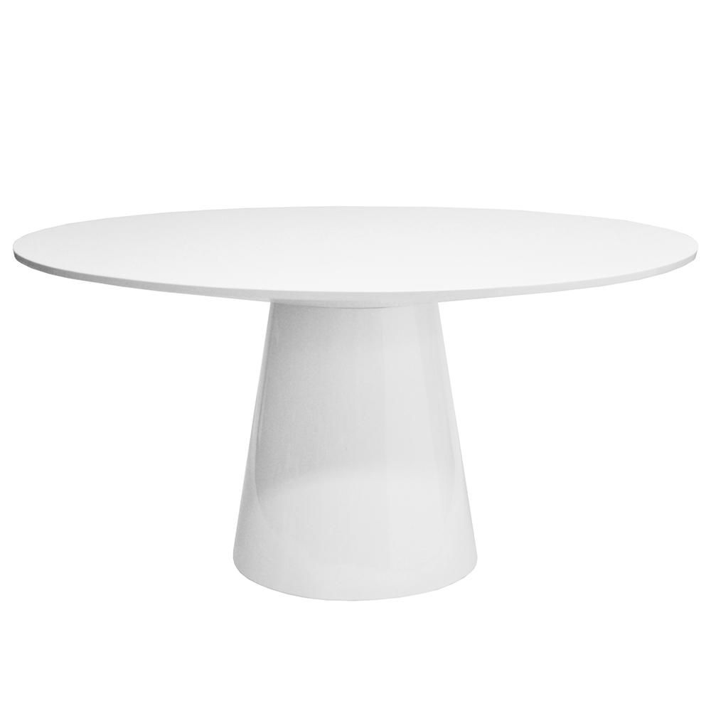 Worlds Away Tapered Base Round Dining Table White Lacquer