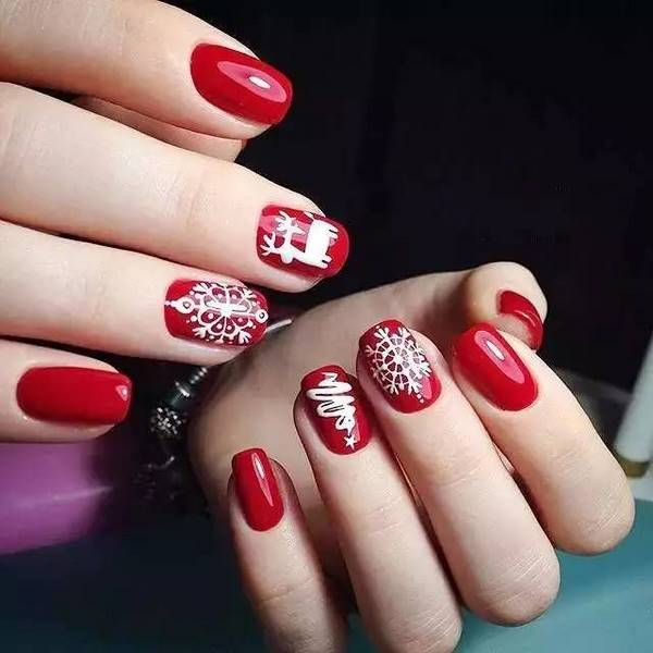 best christmas nails with snowflakes red white nail design ideas nailart - Best Christmas Nail Design Ideas