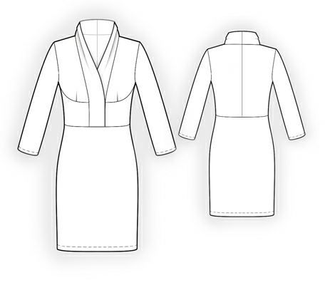 Dress With Shawl Collar - Sewing Pattern #5942 Made-to-measure ...