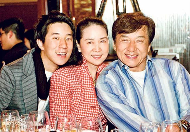 Jackie Chan with his wife Feng-Jiao and son Jaycee Chan...
