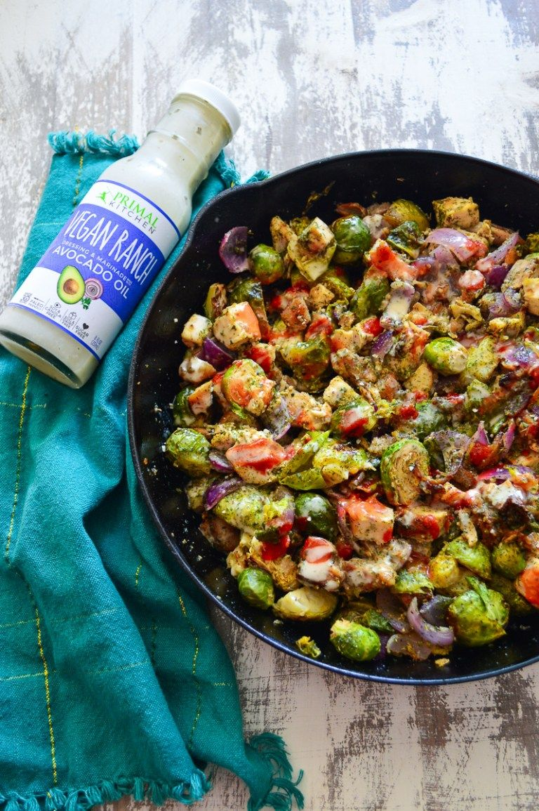 Buffalo Chicken, Bacon & Ranch Skillet with Roasted Brussels Sprouts ~ Real Food with Dana #buffalobrusselsprouts