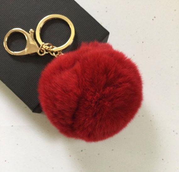 New Deep Red Fur Pom Pom Keychain Fur Ball Bag By Yogastudio55