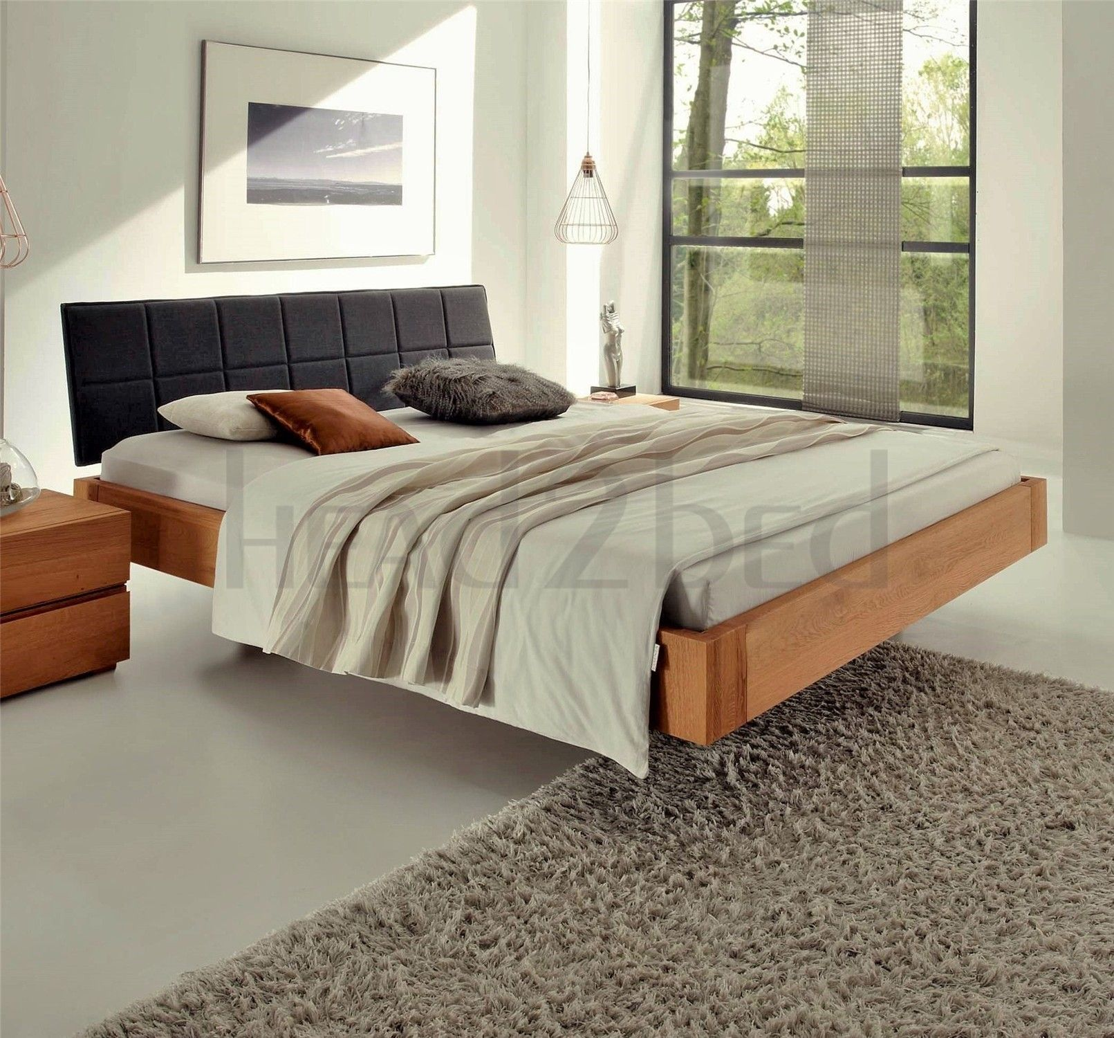 Delightful Contemporary Designer Beds » Hasena Cora Ronna   Solid Oak Real Leather Bed