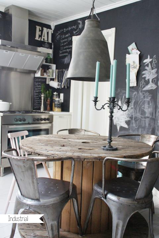 Chalkboard wall, eclectic chairs, rustic wood table (spool?) and industrial style light fixture ... funky