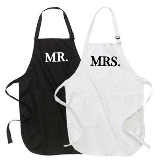 Mr And Mrs Quiz Questions: Mr. And Mrs. Apron Set, Gifts For The Mr. And Mrs. Couples