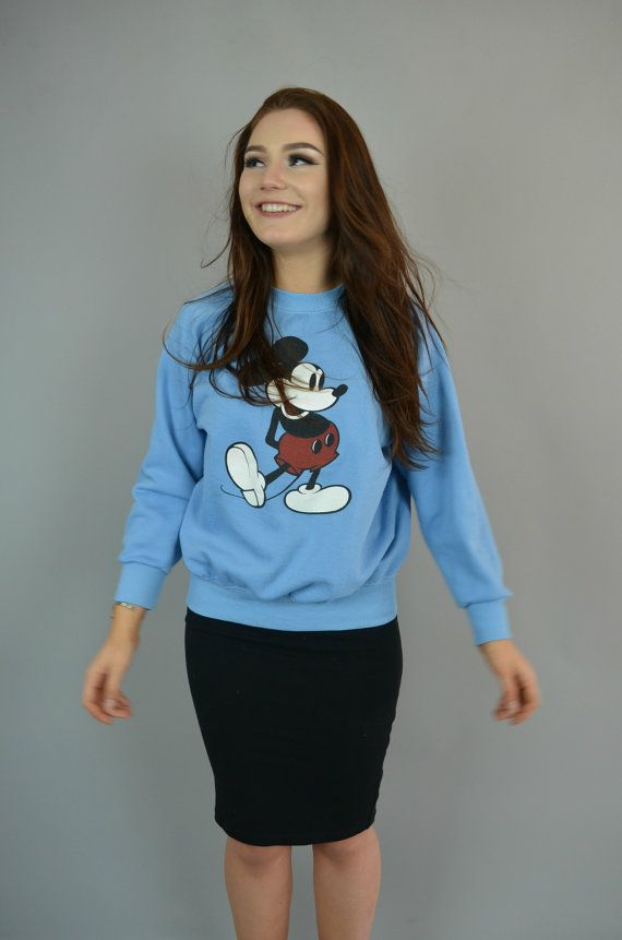 Mickey Mouse Crew 1970 Vintage Baby Blue by OldMoonVintageShop