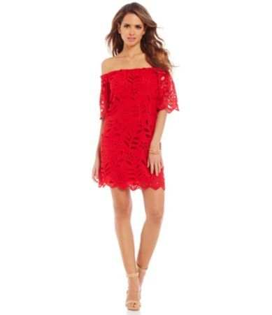 Gianni Bini Dayton Off-the-Shoulder Short Sleeve Lace Dress ...