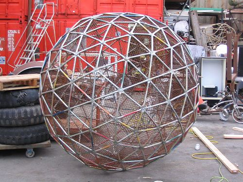 A 7 5 Ft Diameter 4v Geodesic Sphere With Expanded Metal Mesh It