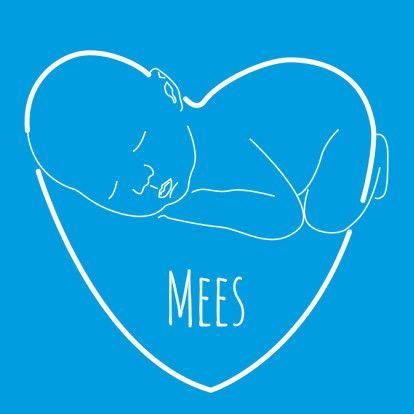 Illustratie Baby #hart blauw wit vk - #Geboortekaartjes - @Kaartje2go