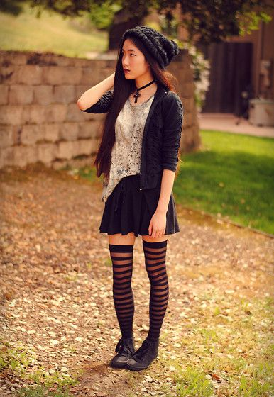 """""""WITCHCRAFT // (+Romwe Giveaway)""""  North Face Beanie, Handmade Choker, Your Eyes Lie Galaxy Print Top, Claires Striped Stockings, H&M Black Sneakers"""