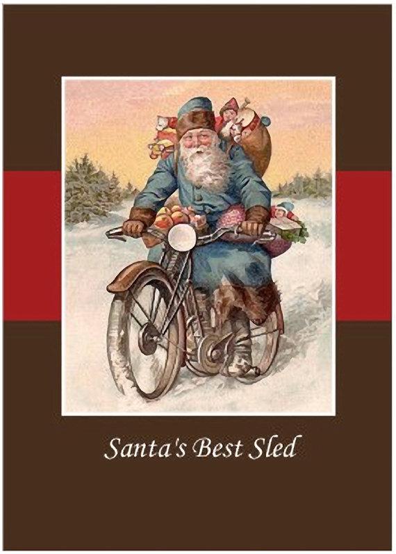 Vintage Santa Rides Vintage Motorcycle Christmas Cards - Set of 10 ...