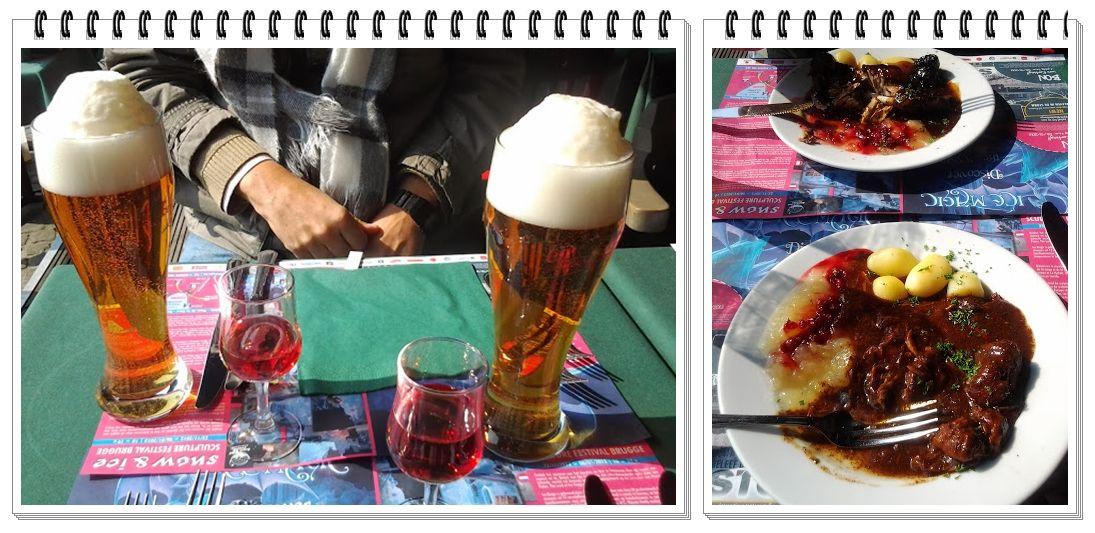 Agora sim, mais cerveja e um prato típico servido no Restaurant La Civiere D'or, Bruges.