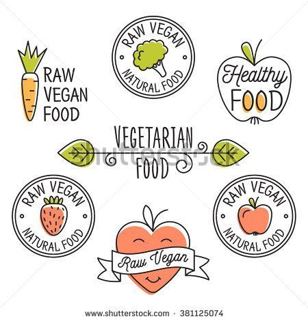 vegan Organic food labels and elements set for food, drink, restaurants, organic products. Raw vegan food Detox logo. Business signs template, concept, logos, identity, labels, badges and objects. -   10 diet Logo signs ideas