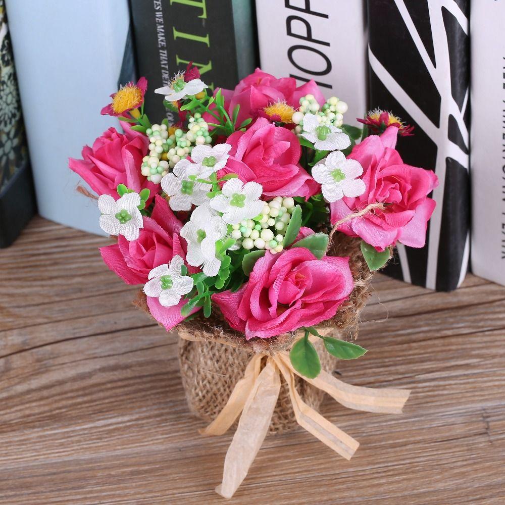 New Artificial Flowers Arrangement Decorative Potted Bonsai Linen ...