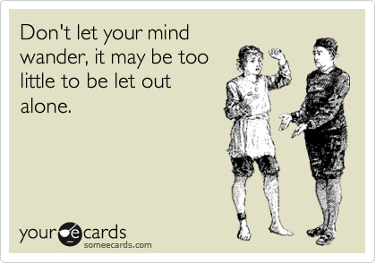 Don't let your mind wander, it may be too little to be let out alone.
