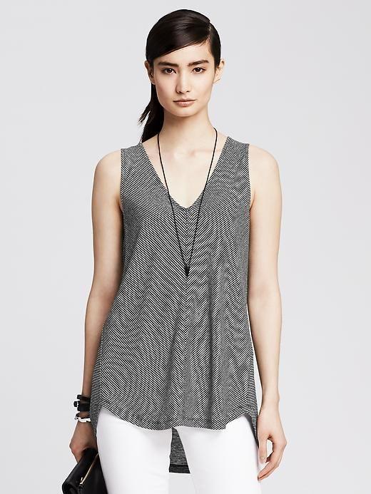 Double-Vee Striped Linen Tunic