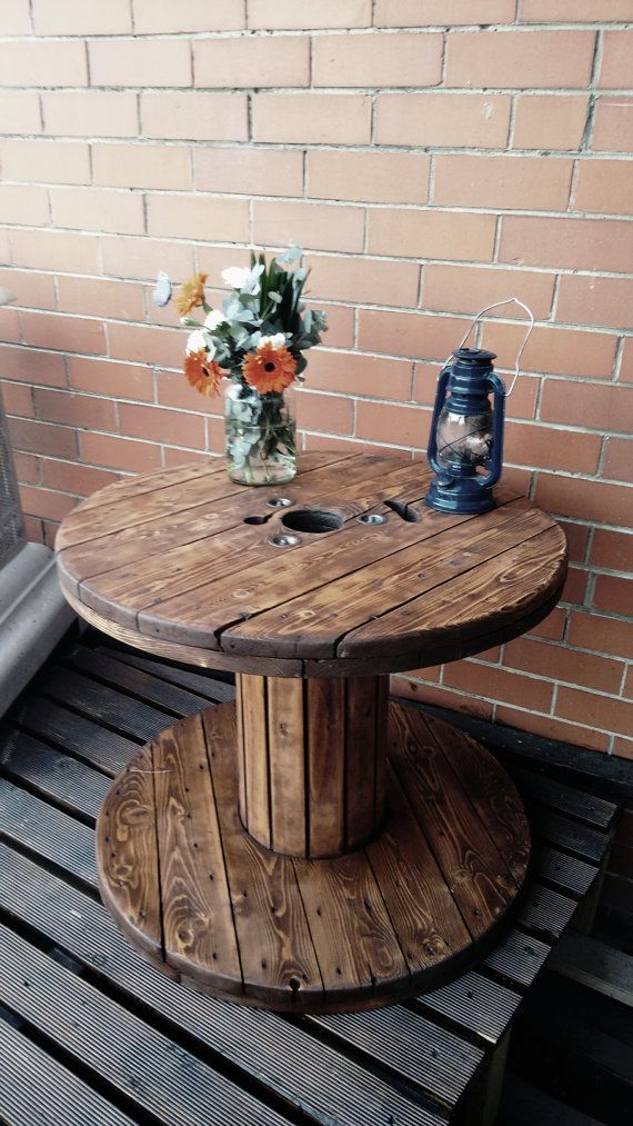 exciting cable spool kitchen table | Pin by Birddieeboo on Birddieeboo | Wooden cable reel ...