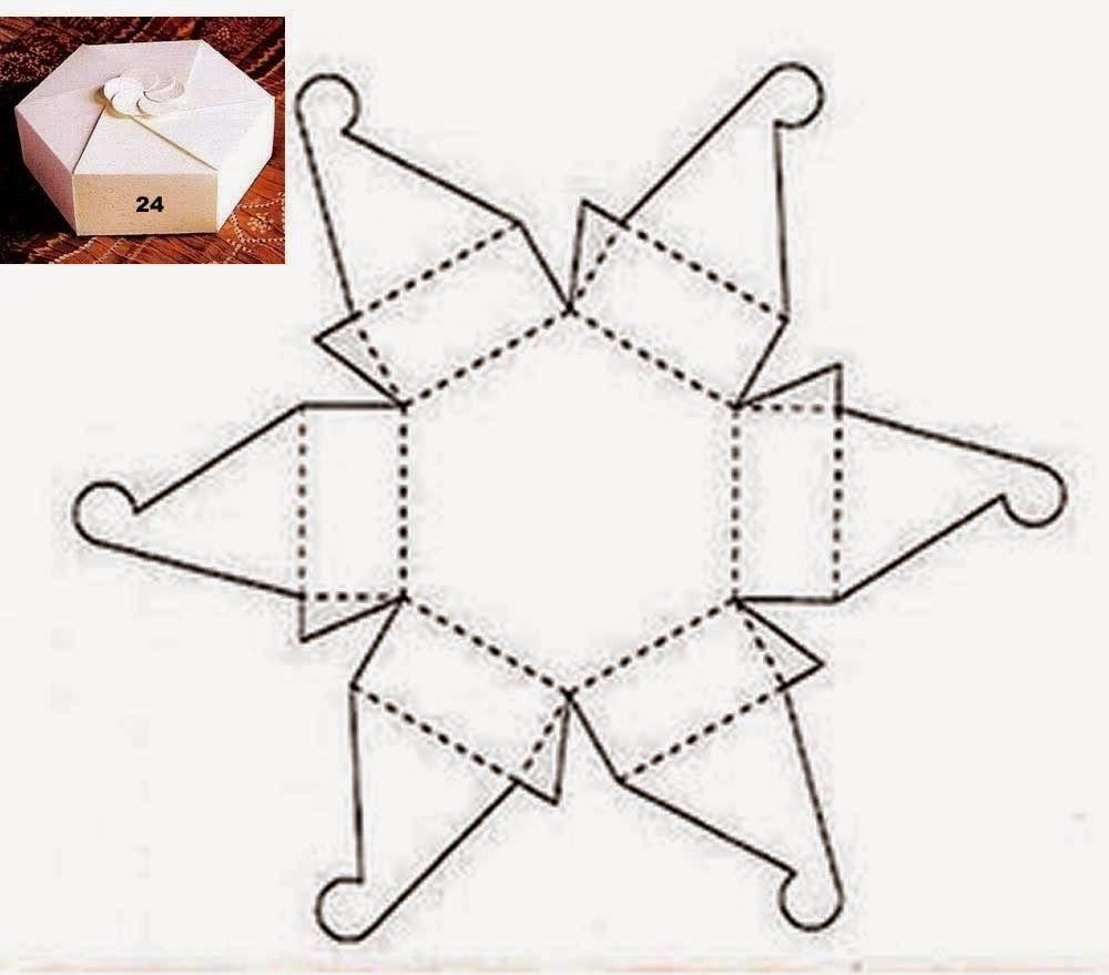 Hexagonal Box With Flower Closure Boxes Templates Pinterest
