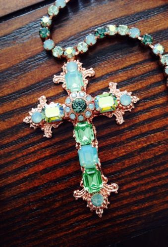 Mariana jewelry swarovski cross necklace pacific opal peridot mariana jewelry swarovski cross necklace pacific opal peridot 24k rose gold pl ebay mozeypictures Image collections