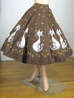 mexican skirt  novelty  GROWING HEARTS vintage 1950s skirt