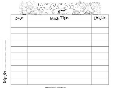 Mrs. Wheelers First Grade Tidbits: Monthly Reading Logs Cute ...
