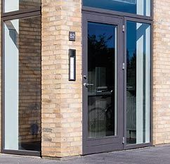 This is the Velfac 600 series entrance door which has a deeper bottom rail but this gives a good impression of what the door will look like.