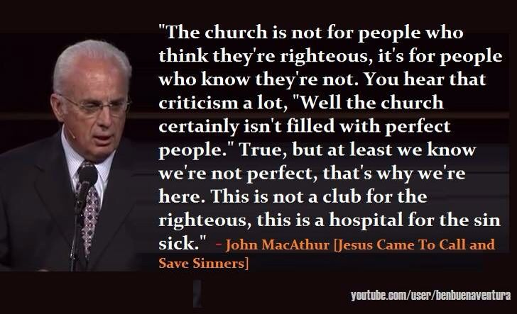 The Christian church. At least we know we're not perfect! Nobody is perfect. Amen!
