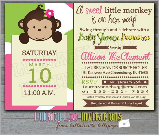 Monkey Baby Shower Invitations Product No 313 Mod 12 Printed