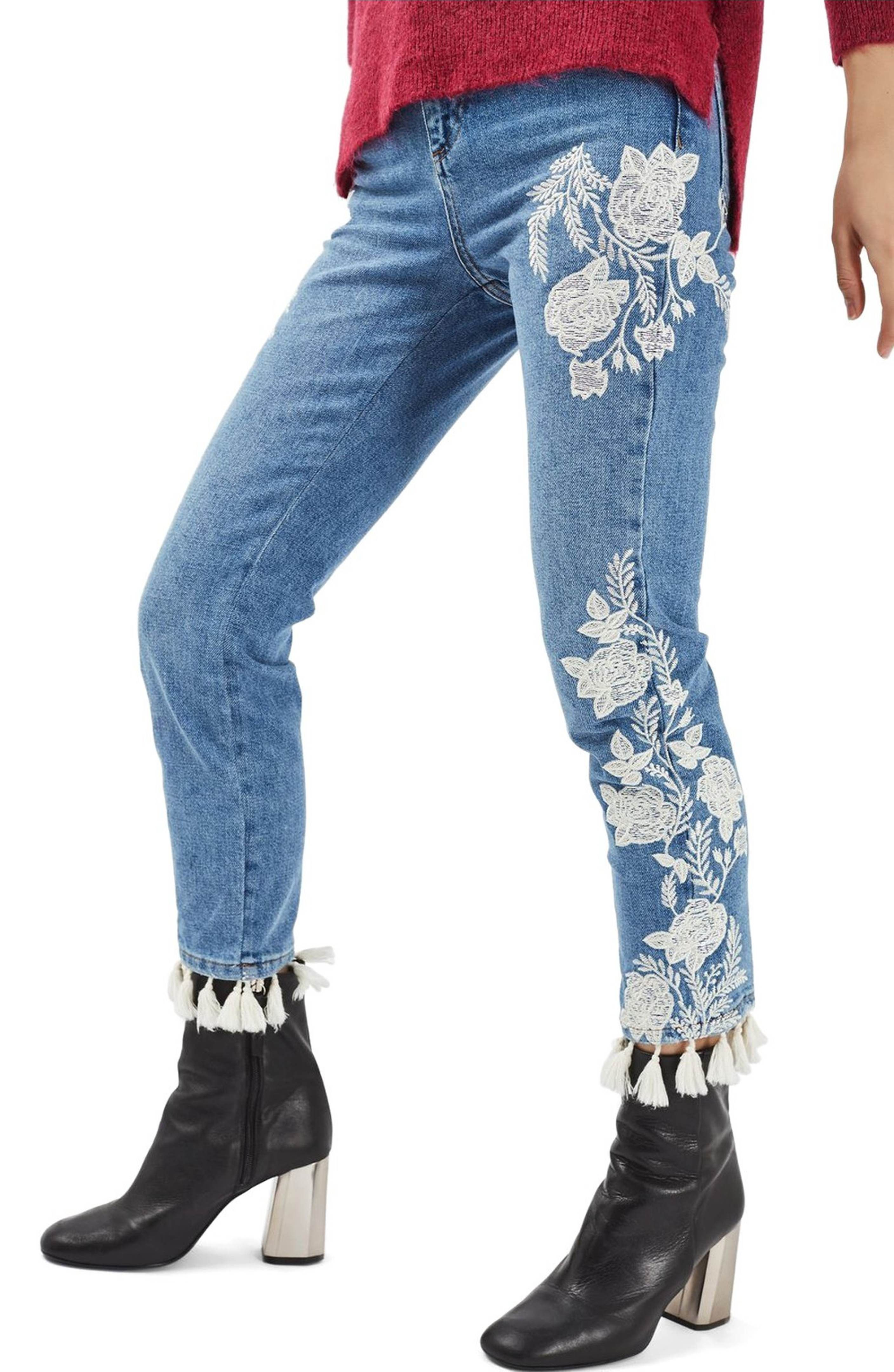 Alice + Olivia dupe - Main Image - Topshop Moto Floral Embroidered Straight  Leg Jeans