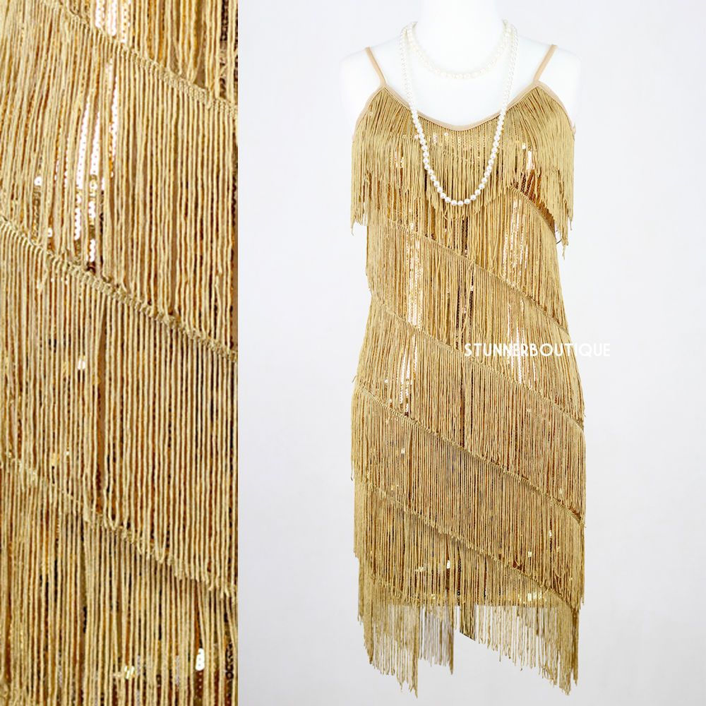 Fler Fringe 1920s Gold Great Gatsby Charleston Sequin Party Latin Dress Small