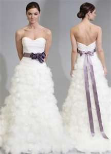 Ivory Dress With Purple Sash Wedding Dresses Purple Wedding Dress