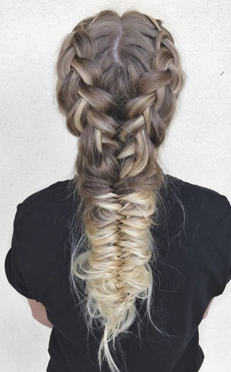 Double French Braids Into Fishtail Braid Ponytail Ombre Hair Ideas Fish Tail Braid Hair Styles Hair